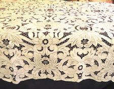 Antoqie Linen Madeira Banquet Tablecloth Cutwork 66x118 Rectangle