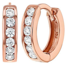 Rose Gold Plated Clear Cubic Zirconia Small Hoop Huggie Earrings for Girls 13mm