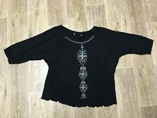 LADIES TARGET SIZE 16 3/4 LS TOP ROUCHED WAIST EMBROIDERED FRONT
