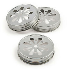 6 Metal Decorative Mason Jar Lids DAISY FLOWER DESIGN SILVER COLOR canning lid