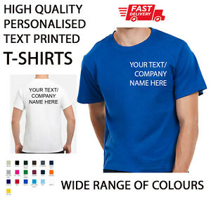 Personalised Printed T-SHIRTS Uniform Party Unisex Gym Work wear Custom TEXT