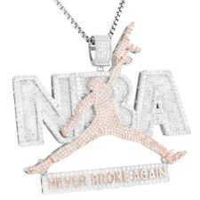 Basketball Jumpman Pendant AK47 Full Iced Out Sterling Silver HipHop Bling Chain