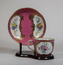 Sevres 18th Century Cup & Saucer Pink Hand Painted Floral Design w/Gold Gilt