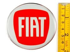 "FIAT *4 x NEW* RED Emblems 70mm (2 3/4"") WHEEL CENTER CAP STICKERS 3D DECALS"