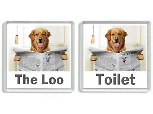 GOLDEN RETRIEVER READING A NEWSPAPER ON THE LOO Novelty Toilet Door Signs