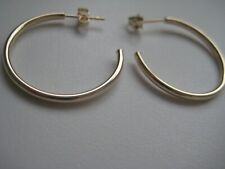 Large gold hoop earrings 9ct yellow tube 25mm diameter butterfly 3/4