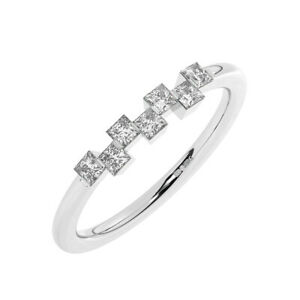 3 MM Bar Set Princess Cut Diamonds Half Eternity Ring in 950 Platinum