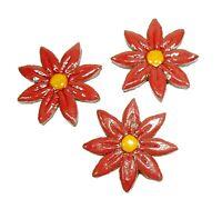 Mosaiksteine-Blumen/Blüten-rot/gelb-Grösse 6cm -3 Stück-handmade