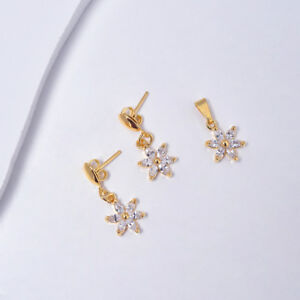 14k Yellow Gold Flowers Earrings and Pendant for Women with Cubic Zirconia, Set