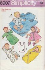 Vintage Babies Layette Sewing Pattern S6907 Size Newborn