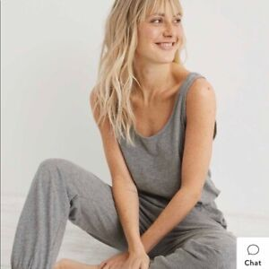 NWT Aerie Grey Cozy Track Jumpsuit Size XL
