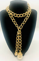 Large Chunky Gold Tone Faux Pearl Lariat Necklace Double Linked Vintage Jewelry