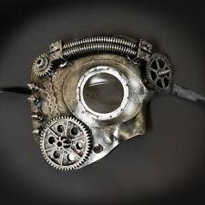 Steampunk Phantom Theater Masquerade Mask for Men - Metallic Silver M33234