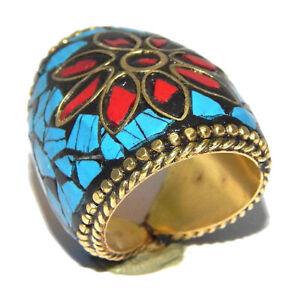 Turquoise & Coral Stone Tibetan Jewelry Nepal Handmade Golden Ring 7.5 NEP707