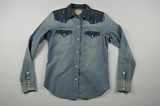 RALPH LAUREN DENIM SUPPLY Small Long Sleeve Western Snap Button Chambray Shirt