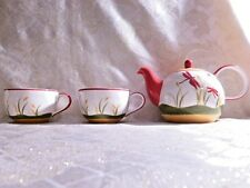 Hues And Brews 16 Oz.Teapot With Large Matching Cups Colorful Dragonfly Pattern