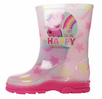 Peppa Pig Happy Girls Pink Rainbow Wellies Wellington Boots UK Sizes Child 5-10