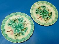 2 Old Majolica Pottery Sarreguemines Plate with Grape Vine Design