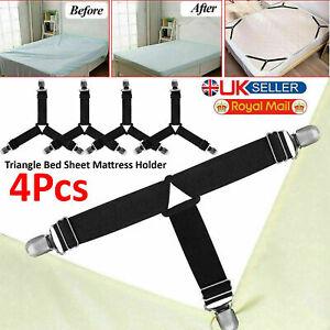4Pcs Bed Sheet Holder Triangle Clips Mattress Fastener Grippers Suspender Straps