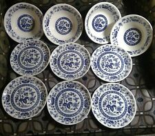 Blue & White Bowls Dishes Made in Japan 4 soup bowls 6 dessert plates