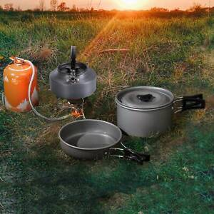 10Pcs Portable Outdoor Camping Cookware  Cooking Picnic Bowl Spoon Pot Pan Set