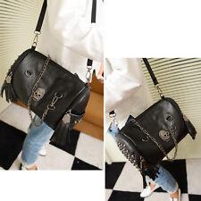 Women Skull Rivet Tassels Handbag Crossbody Shoulder Chain Bag Satchel Black