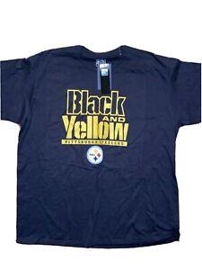PITTSBURGH STEELERS BLACK And YELLOW T Shirt  NEW W/TAGS 2XL FANATICS Black