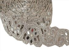 Indian Hand Beaded Bridal Dress Border 9 YD Trim Ribbon Silver COLLECTIBLE EDH