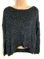 WOMENS VERO MODA BLUE KNITTED JUMPER SWEATER PULL OVER DIPPED HEM SIZE MEDIUM M