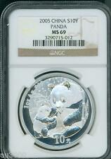 2005 CHINESE PANDA 10Y S10Y NGC MS69 1 Oz. SILVER CHINA 10-Yn Yuan tiny spot