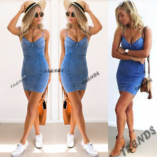 UK Womens Bodycon Denim Jean Dress Ladies Party Evening Mini Dress Size 6-14
