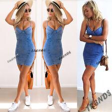 UK Womens Bodycon Denim Jean Dress Ladies Party Evening Mini Dress Size 6-14