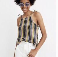 NWT Madewell Texture & Thread Size Tie-Shoulder Tank Top in Rainbow Crochet S
