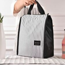 Black White Stripes Portable Lunch Bags Thermal Food Holder Picnic Women Men Bag