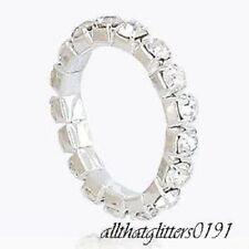 Cristal Transparente/Diamante Incrustado Elástico Anillo Para Pie/Dedo De Plata