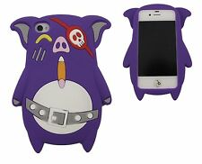COVER IPHONE 4 4S CASE CUSTODIA SILICONE MAIALINO MAIALE VIOLA SCURO PURPLE PIG