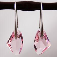 Light Pink Crystal 925 Sterling Silver Earrings Drop Earrings Swarovski Elements