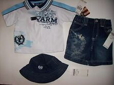 Phat Farm Outfit Infant Baby Boys 3pc Short Set Top Shorts Hat Sz 0-6 Mos NWT