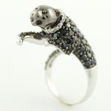 Sterling Silver 4.62ctw Black Spinel Panther Shaped Ring, Size 7