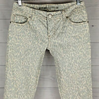 Mossimo Leopard Spotted Low Rise Women's Size 5 SKINNY Stretch Blue White Jeans