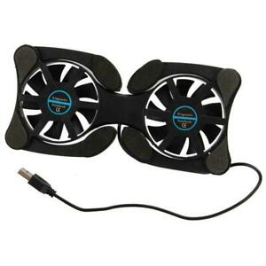 USB Laptop Cooler Cooling Pad Stand Adjustable Fan Fans 2 For PC Black G3D1