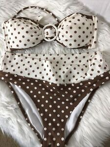 VICTORIA'S SECRET Womens 2 Piece White Brown Polka Dot Bikini Size M
