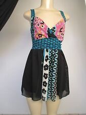 Bisou Bisou wide strap black vibrant floral cute youthful edgy baby doll top S