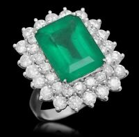 Certified  7.50cttw Emerald 2.90cttw Diamond 14KT White Gold Ring