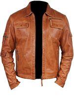 Vipzi Men's Fashion Lambskin Leather Tan Waxed Moto Jacket MFJ07