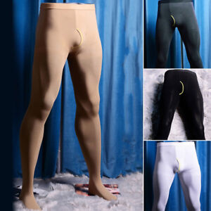 Mens Winter Warm Thermal Pantyhose Stretch Tights Footed Long Johns Skinny Pants