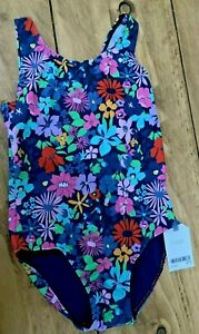 Girls Next Navy Floral Swimming Costume - UK Size 6-7yrs