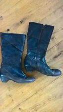Designer Fly London Brown Zip Up Leather Boots Sz 6 Euro 39