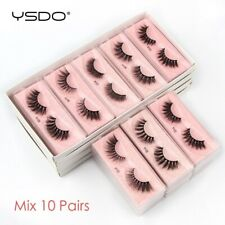 False Eyelashes Fake Lashes 10Pairs Makeup Set Mink Lashes Natural 3D Bulk Lash