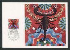 LIECHTENSTEIN MK 1978 TIERKREISZEICHEN SKORPION CARTE MAXIMUM CARD MC CM d651